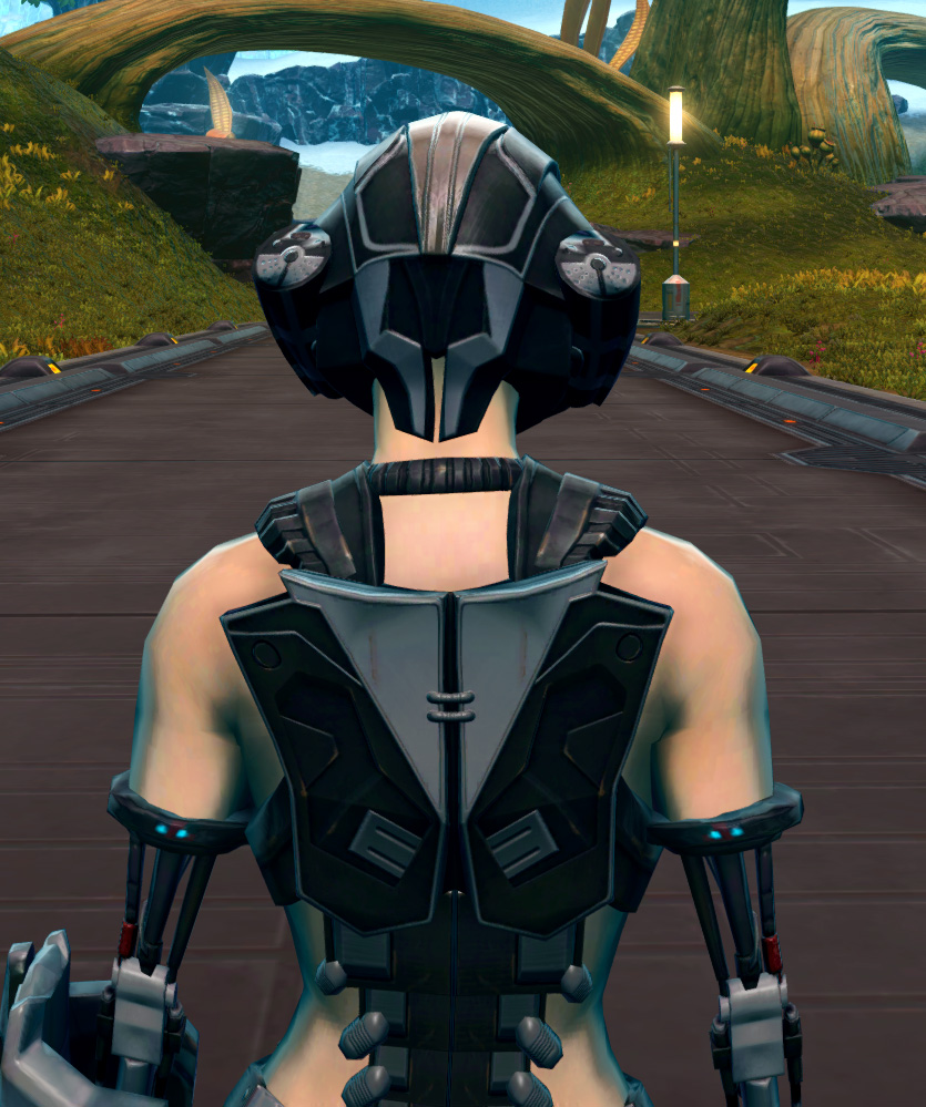 B-100 Cybernetic Armor Set detailed back view from Star Wars: The Old Republic.