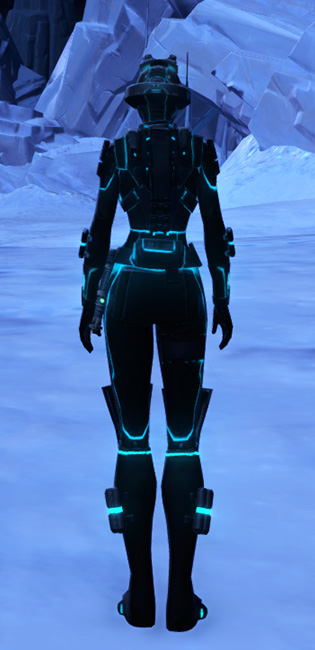 Blue Scalene Armor Set player-view from Star Wars: The Old Republic.