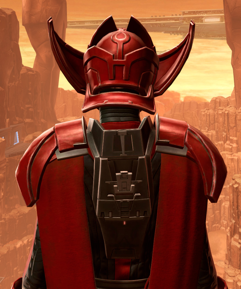 Crimson Talon Armor Set detailed back view from Star Wars: The Old Republic.
