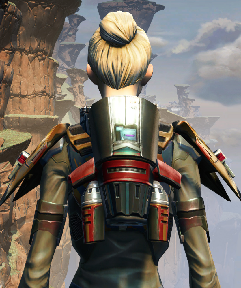 CZ-5 Armored Assault Harness Armor Set detailed back view from Star Wars: The Old Republic.