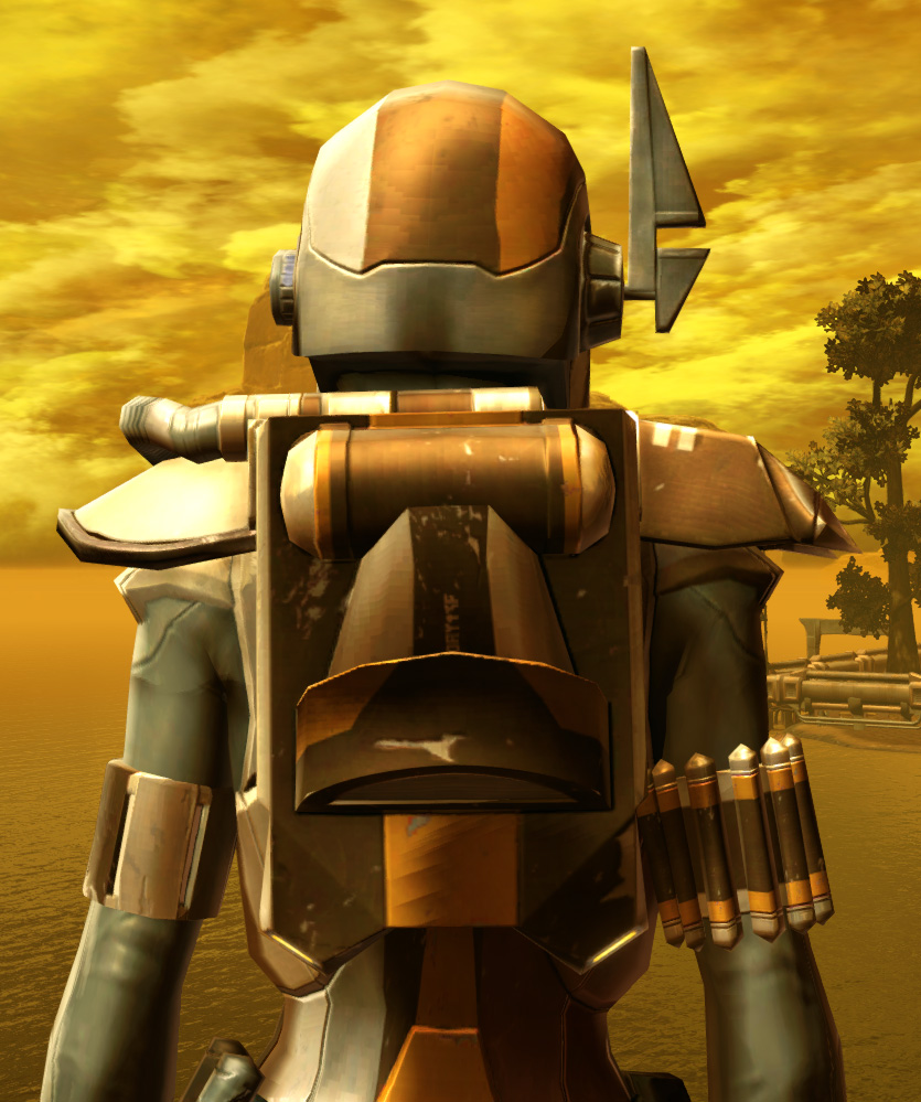 Electrum Onslaught Armor Set detailed back view from Star Wars: The Old Republic.