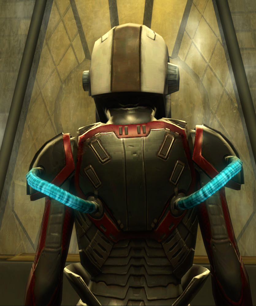 Eternal Battler Boltblaster Armor Set detailed back view from Star Wars: The Old Republic.