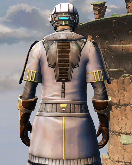 Fortified Lacqerous Armor Set Back from Star Wars: The Old Republic.