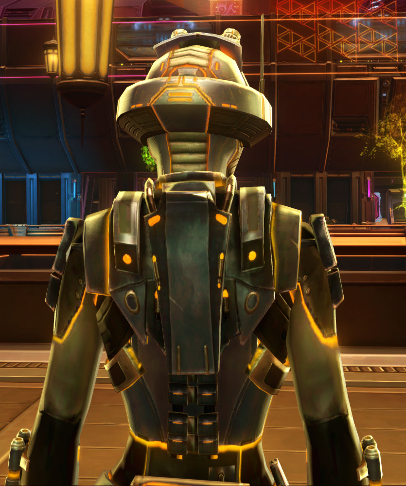 Gold Scalene Armor Set detailed back view from Star Wars: The Old Republic.