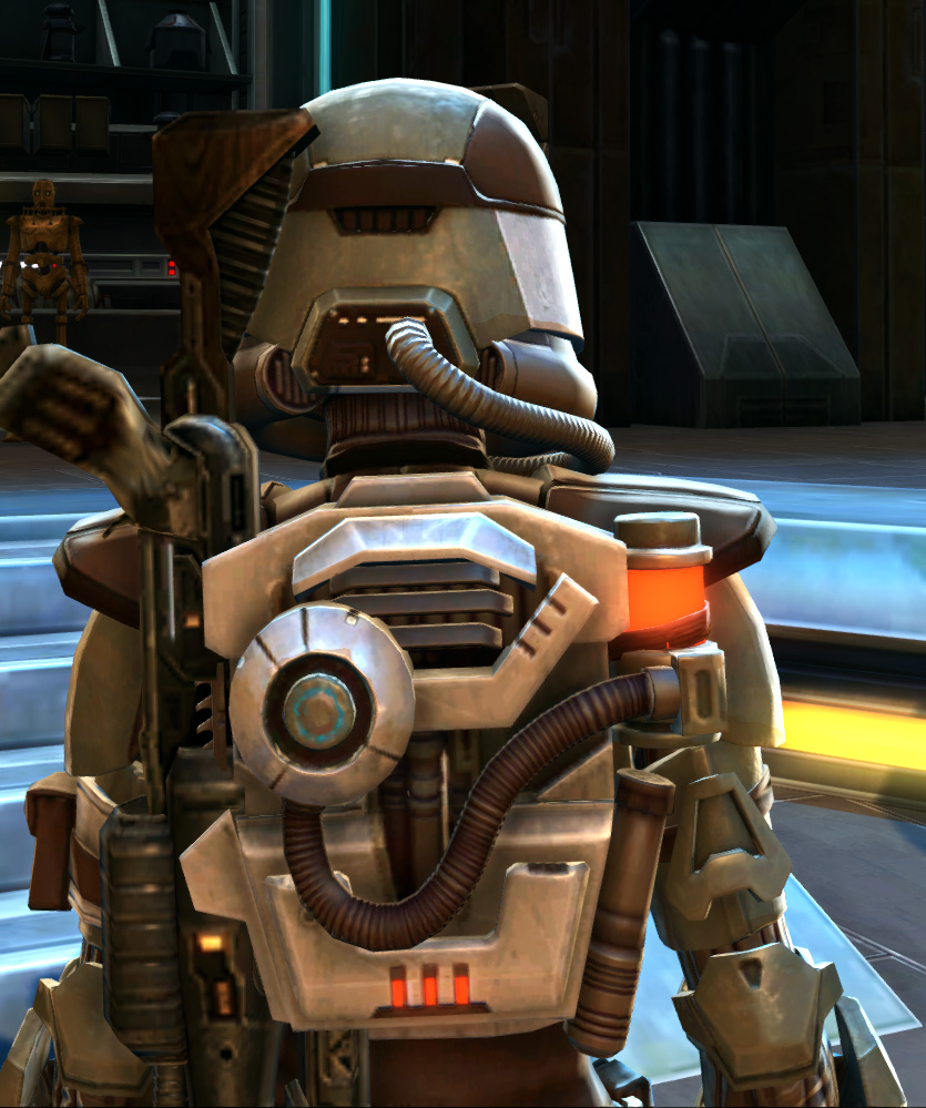 Holoshield Trooper Armor Set detailed back view from Star Wars: The Old Republic.