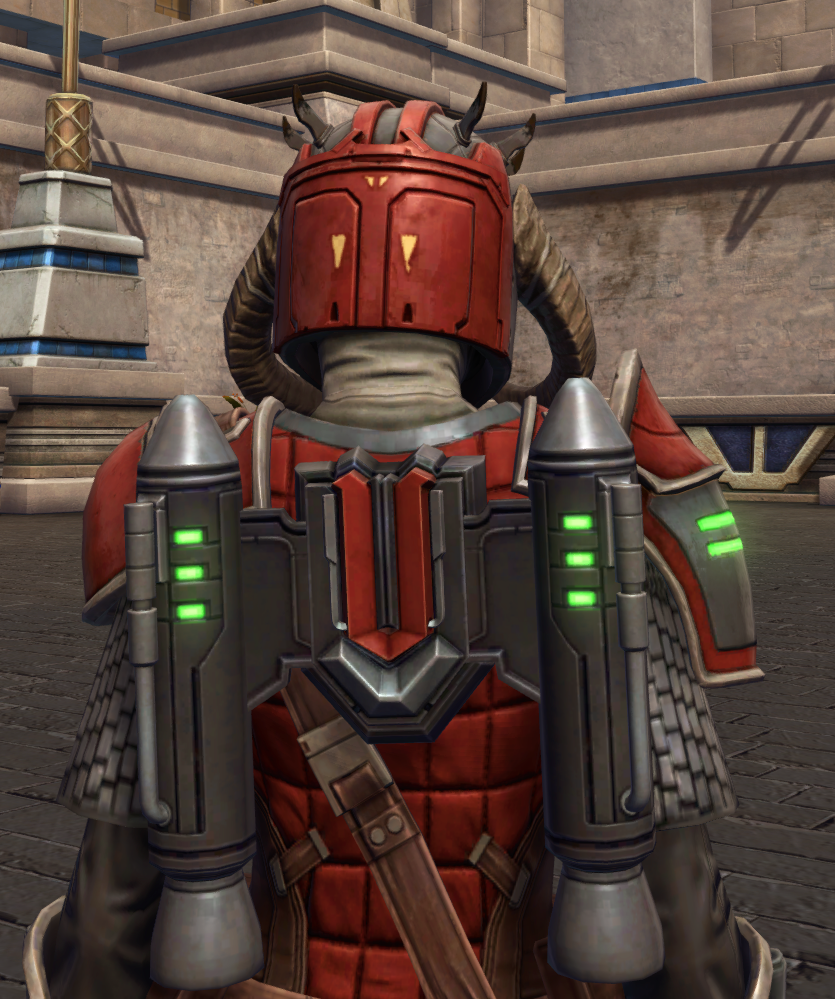 Mandalorian Stormbringer Armor Set detailed back view from Star Wars: The Old Republic.