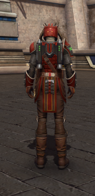 Mandalorian Stormbringer Armor Set player-view from Star Wars: The Old Republic.