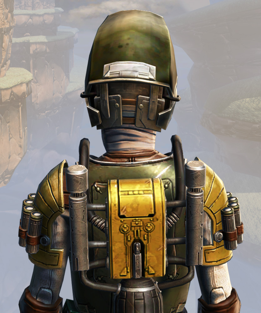 Remnant Underworld Bounty Hunter Armor Set detailed back view from Star Wars: The Old Republic.