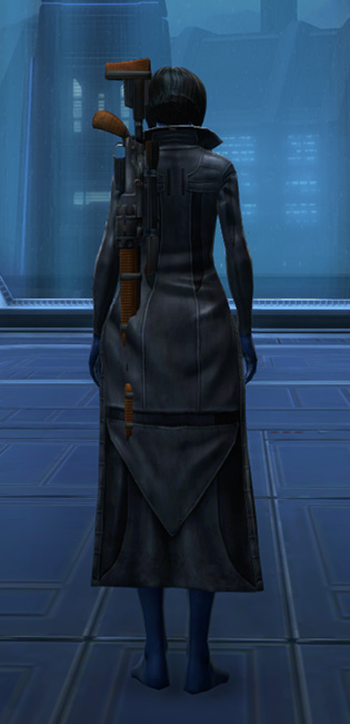 Unfettered Trench Coat Armor Set player-view from Star Wars: The Old Republic.